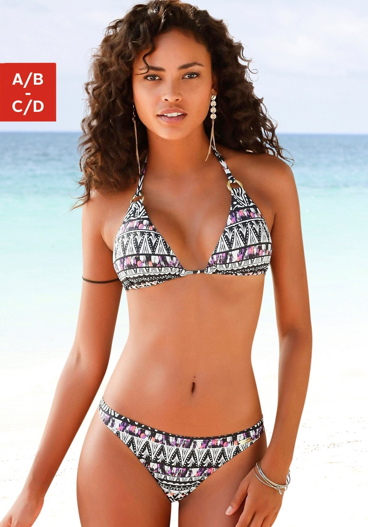 Lascana Triangel-bikinitop Belize met goudkleurige sierringen - gratis ruilen op lascana.nl