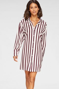 cybèle nachthemd gestreept met klassieke overhemdkraag rood