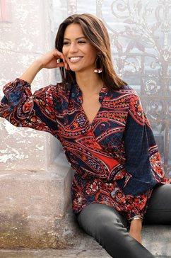 lascana gedessineerde blouse met paisley patroon blauw