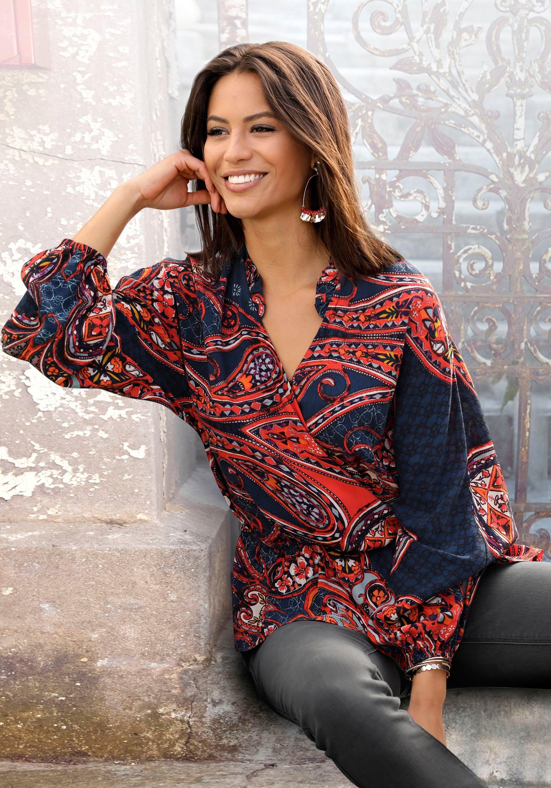 Lascana gedessineerde blouse met paisley patroon voordelig en veilig online kopen
