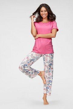 cybèle pyjama met babylockdetails en gebloemde broek wit