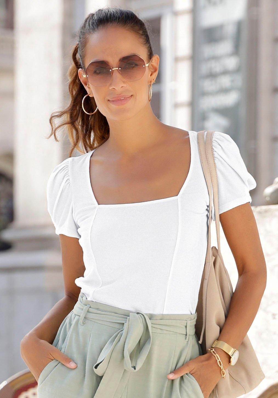 Lascana shirt met korte mouwen van geribd materiaal voordelig en veilig online kopen