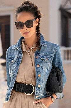 lascana jeansjack met twee klepzakken blauw