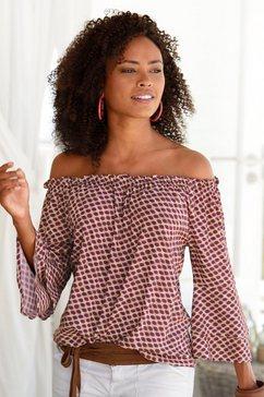 lascana blouse met carmenhals met stippelprint beige