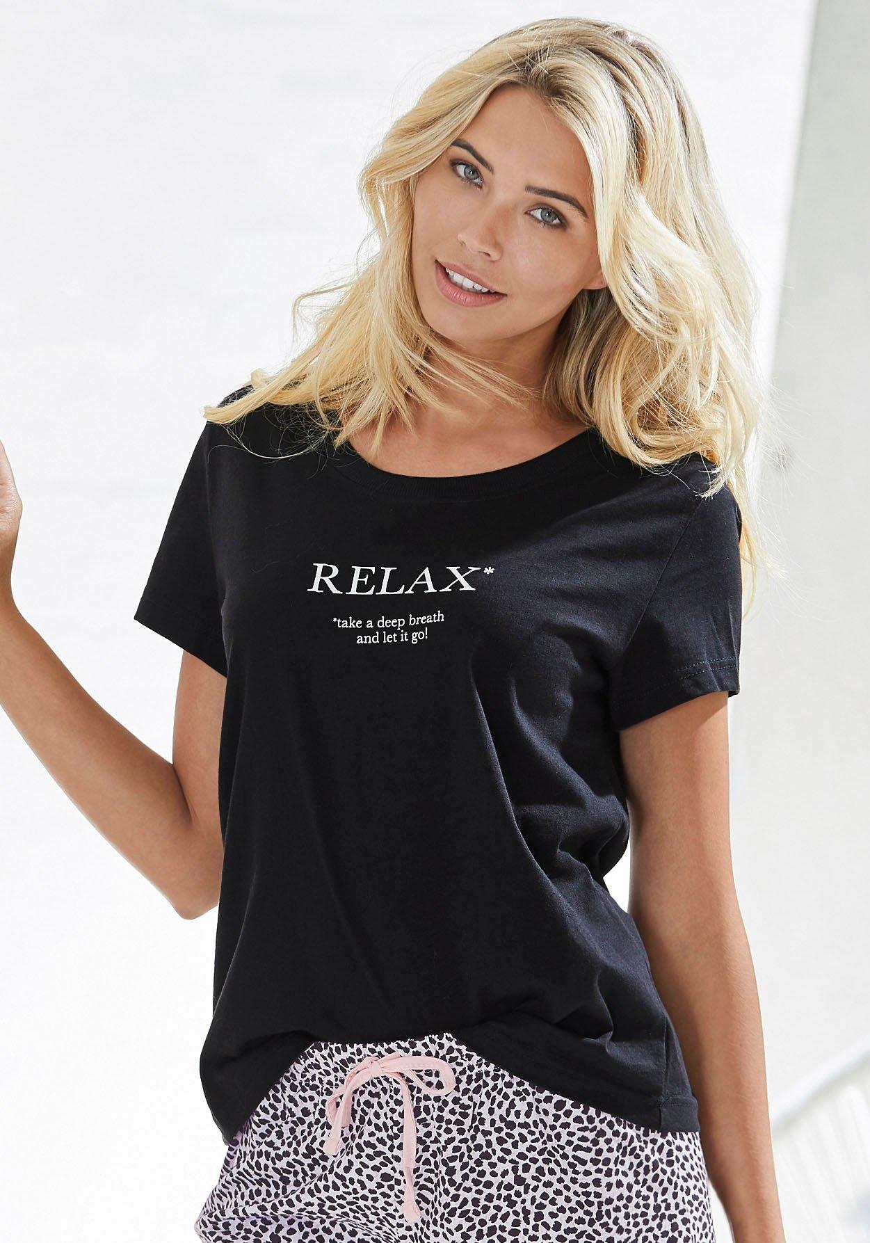 Vivance Dreams Pyjama top met statementprint nu online kopen bij Lascana