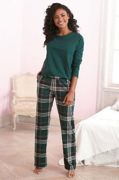 vivance dreams pyjama met opschrift en gedessineerde broek groen