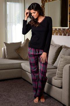 lascana pyjama met behaaglijk zachte flannellen broek multicolor