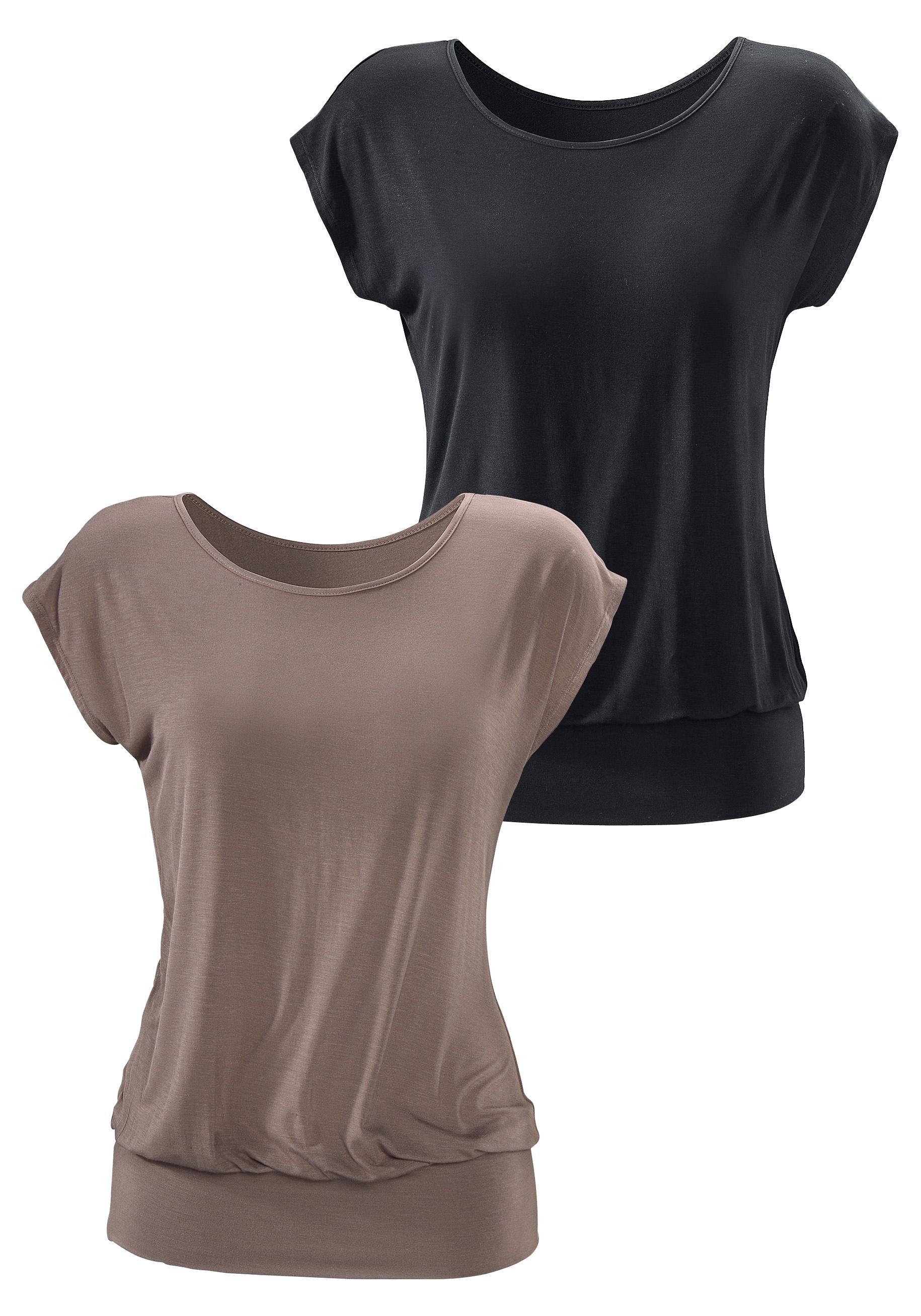 LASCANA lang shirt (set van 2) met brede boord goedkoop op lascana.nl kopen
