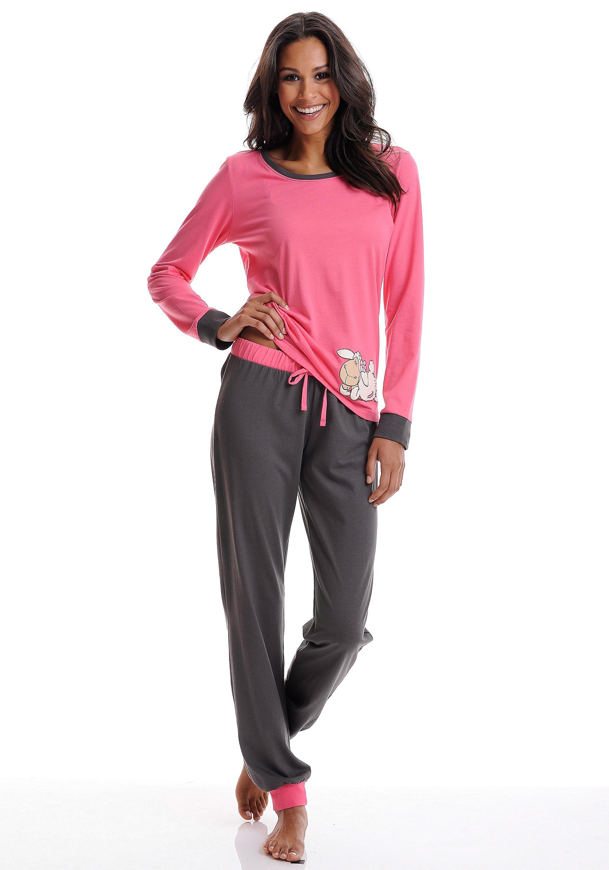 Nici Pyjama met contrastkleurige details in de webshop van Lascana kopen