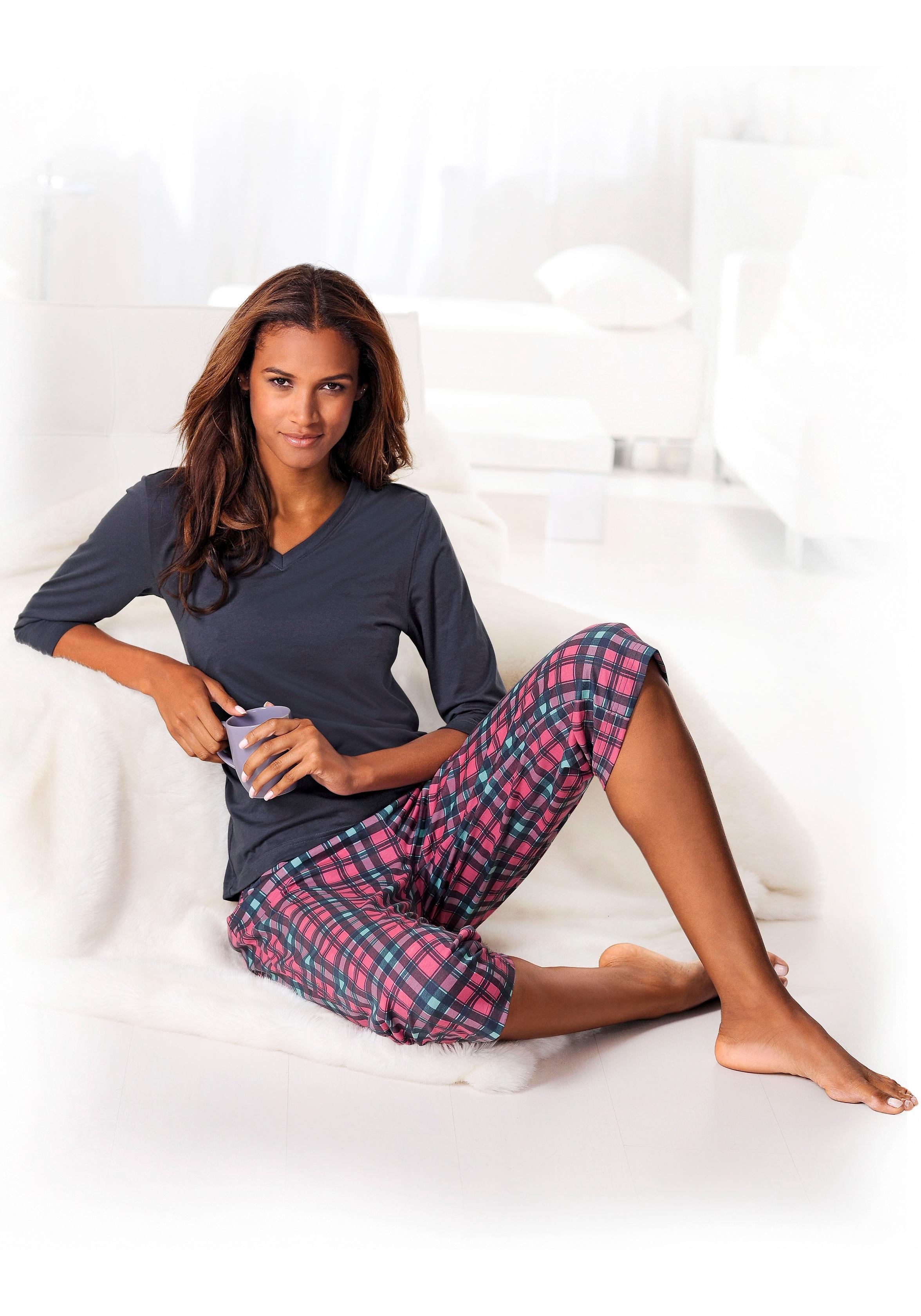 H.I.S Capri-pyjama met 3/4-mouwen nu online kopen bij Lascana