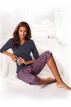 h.i.s capripyjama met geruite broek en bijpassend basic shirt roze