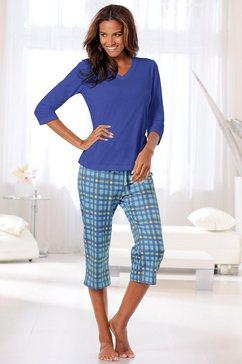 h.i.s capri-pyjama met 3-4-mouwen blauw