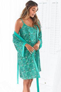 s.oliver red label beachwear kimono met ornamentprint die gestrikt kan worden groen