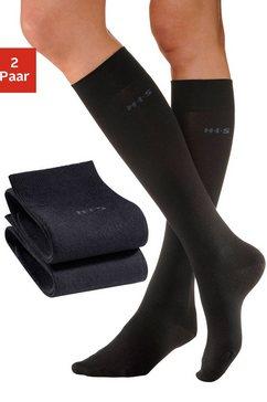 h.i.s kniekousen met comfortboord (2 paar) zwart