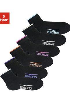 venice beach korte sokken met knelvrije boord (6 paar) zwart