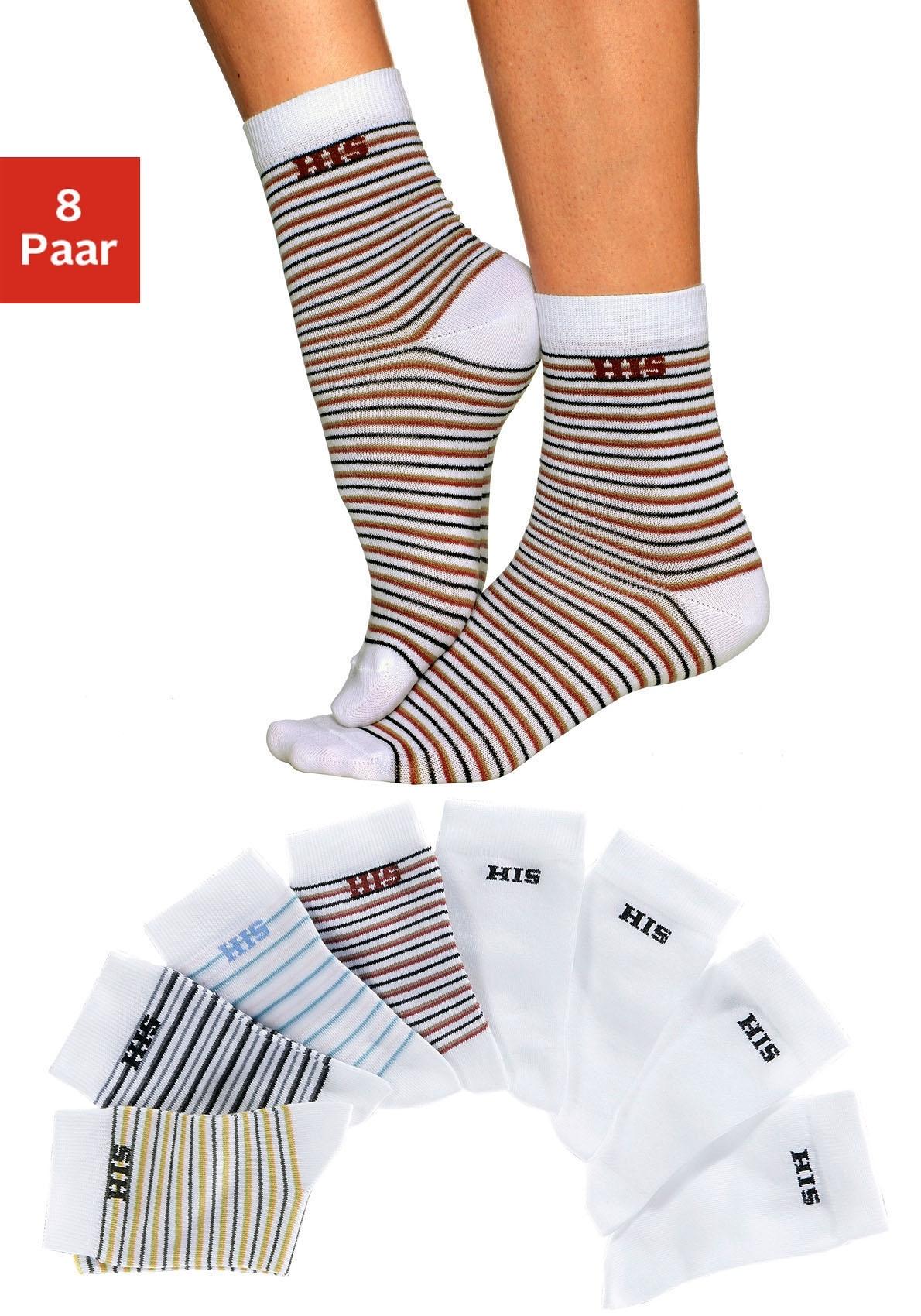H.I.S sokken gestreept en unikleur (8 paar) bestellen: 30 dagen bedenktijd