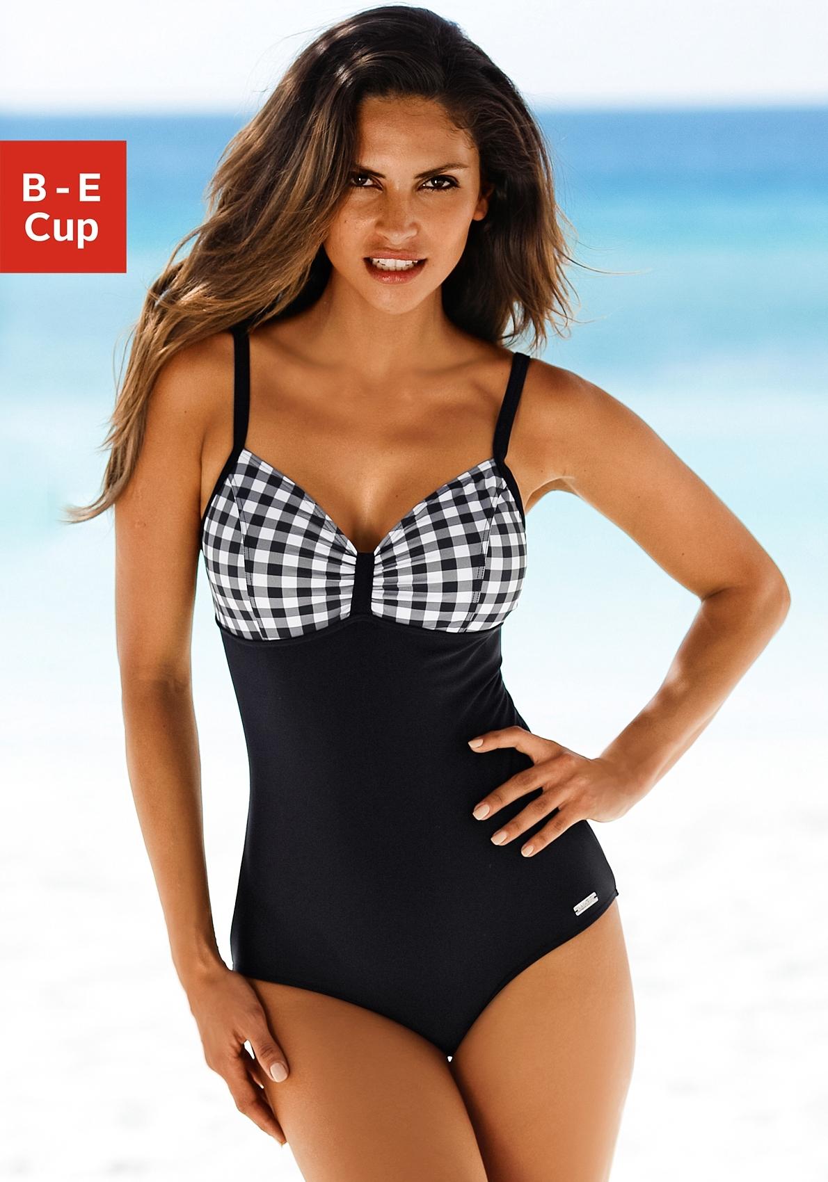 Lascana badpak met zwart/witte contrastdetails nu online kopen bij Lascana