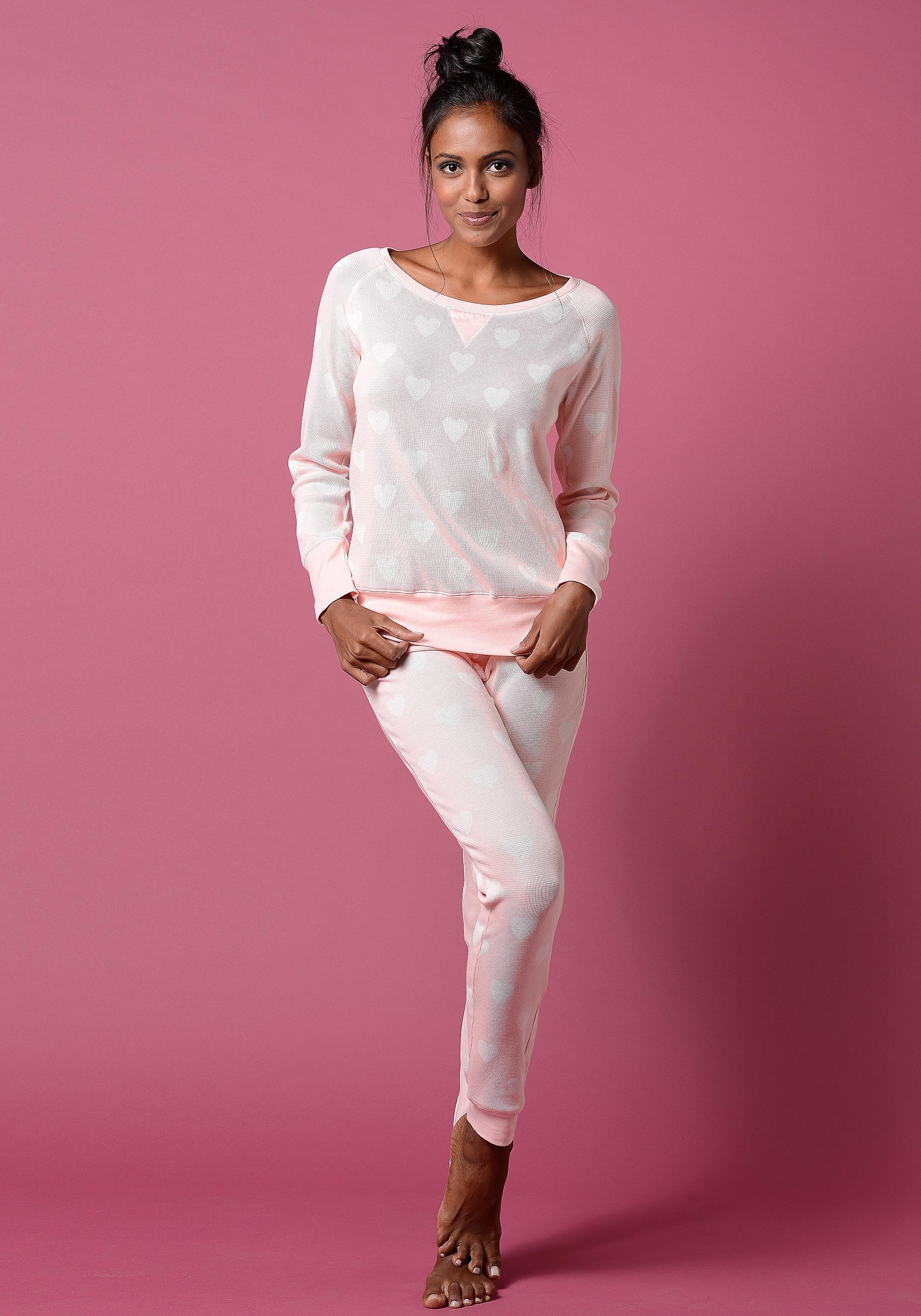 vivance collection Pyjama met details van satijn in de webshop van Lascana kopen