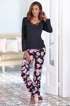 lascana pyjama met bloemmotief en kanten details zwart