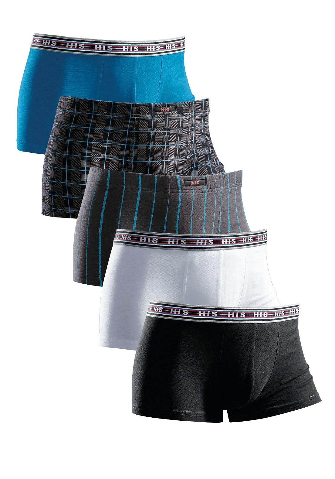 H.I.S boxershort (set van 5) coole mix: gedessineerd en uni in set, van katoen-stretch bij Lascana online kopen