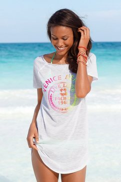 venice beach lang shirt met neon-frontprint wit