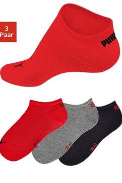 puma sneakersokken in klassieke vorm (3 paar) rood