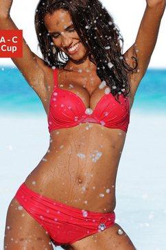 s.oliver red label beachwear push-upbikini met sierring aan de broek rood