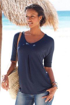 lascana gestippeld shirt met stolpplooi blauw