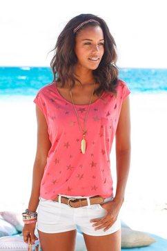 beachtime t-shirt (set van 2) met transparante sterretjes rood