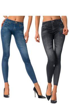 slim-legging, set van 2 blauw