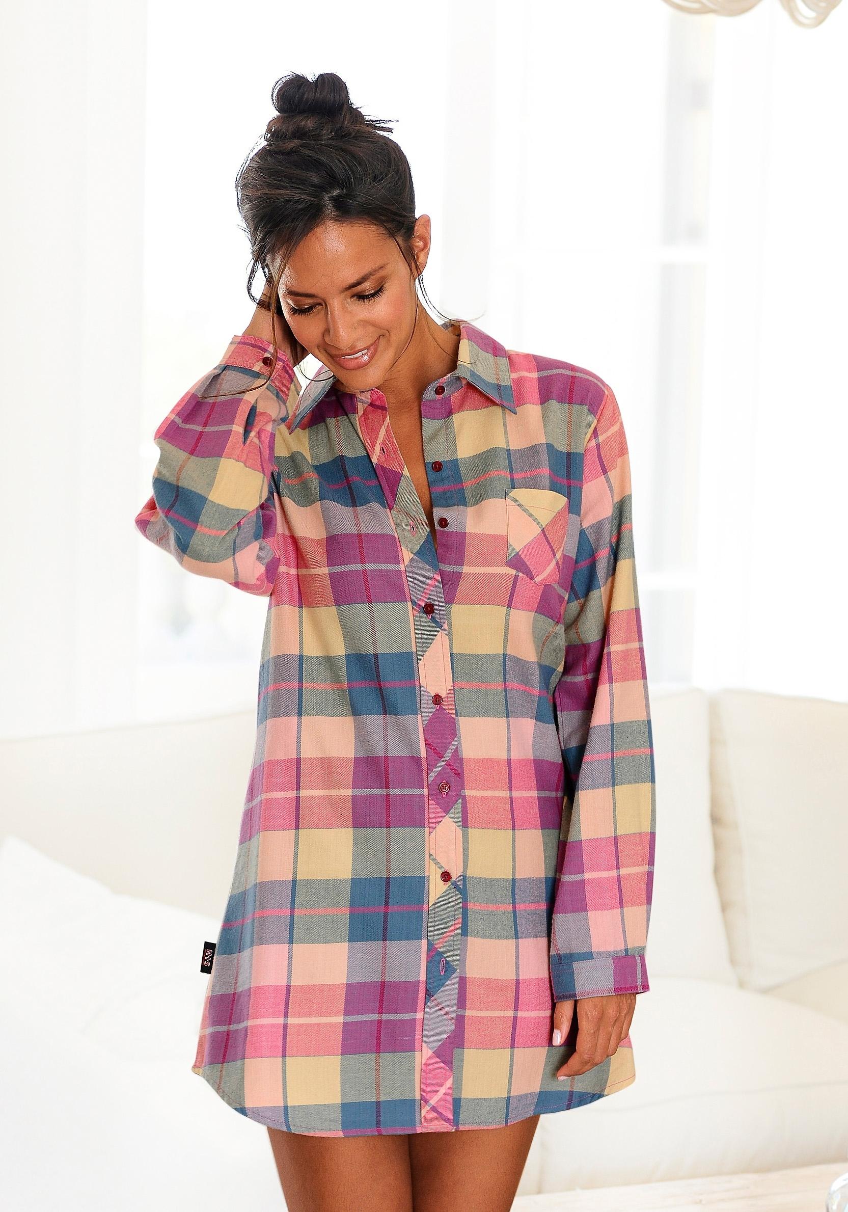 Op zoek naar een H.I.S geruit flanellen nachthemd met overhemdkraag & knoopsluiting? Koop online bij Lascana
