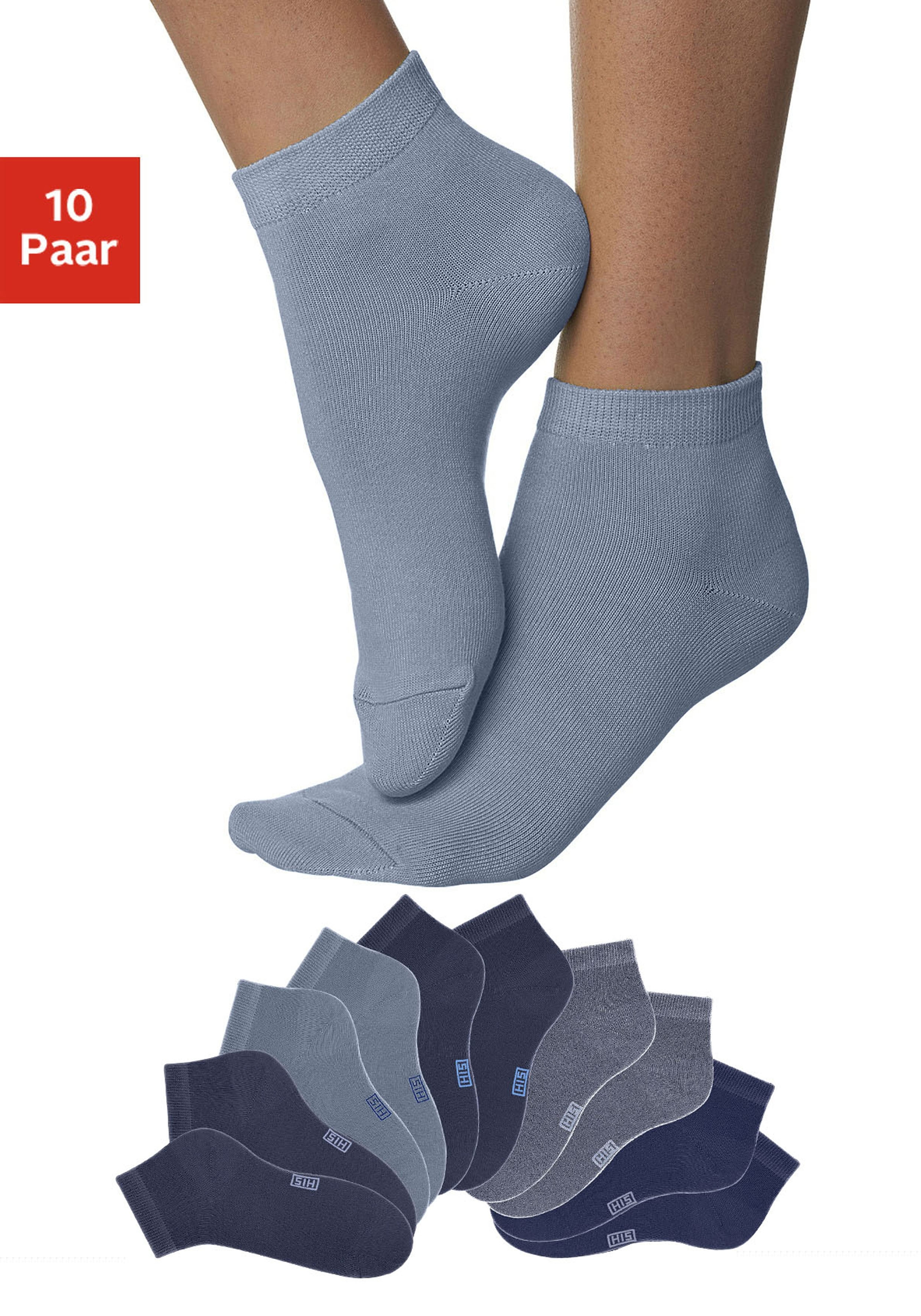 H.I.S korte sokken met verstevigde hiel en teen (10 paar) - gratis ruilen op lascana.nl