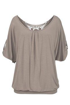 lascana shirt met haakdetail achter bruin