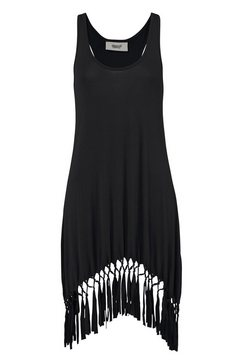 beach time lang shirt met franje zwart
