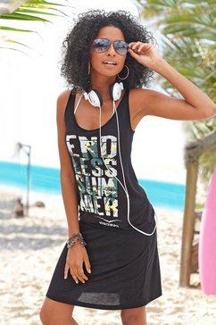 venice beach strandjurk met frontprint zwart