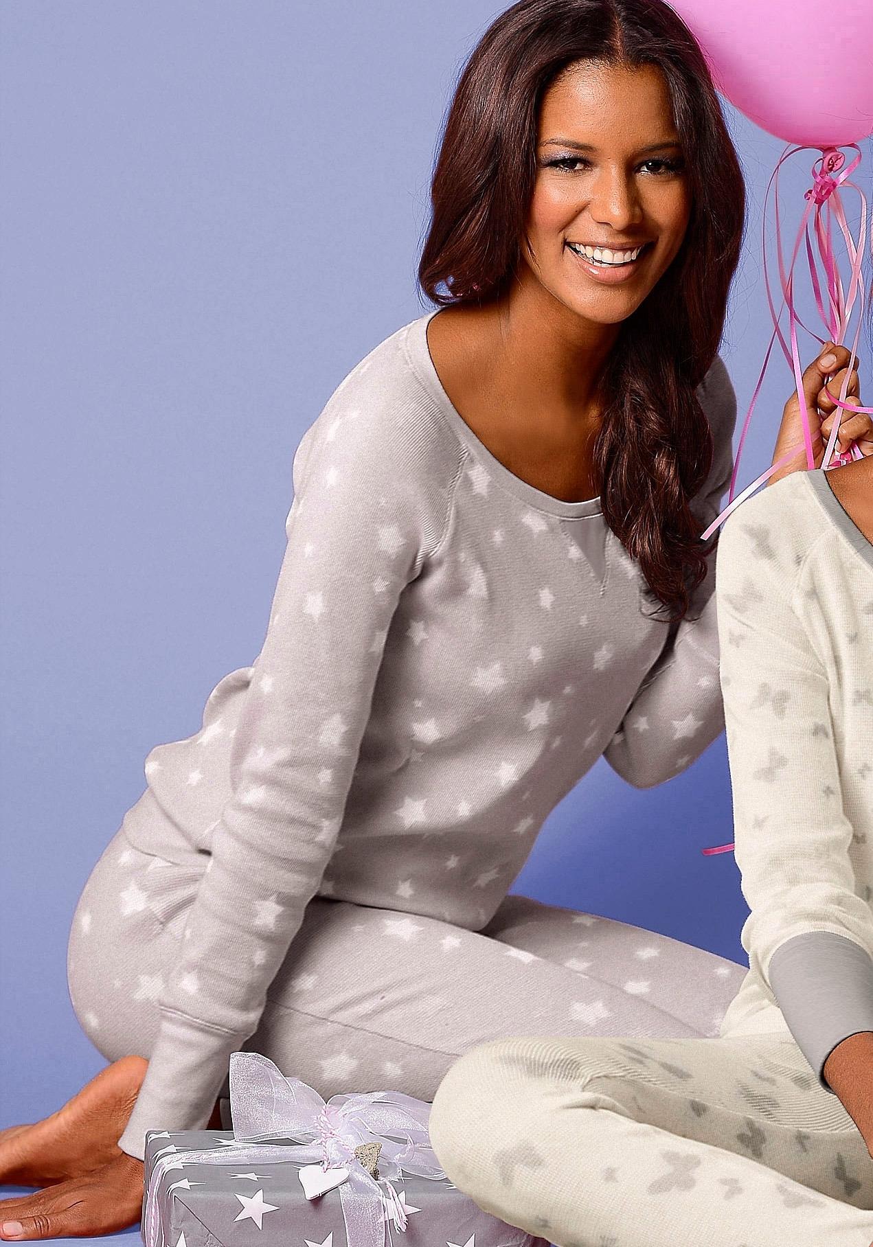 Vivance Collection VIVANCE DREAMS Pyjama met details van satijn in de webshop van Lascana kopen