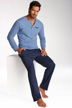 arizona pyjama in een lang model, top met knoopsluiting en borstprint blauw