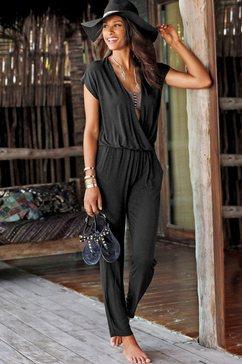 lascana strand-jumpsuit in wikkel-look zwart