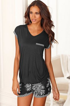lascana shortama in zwart-wit-design zwart