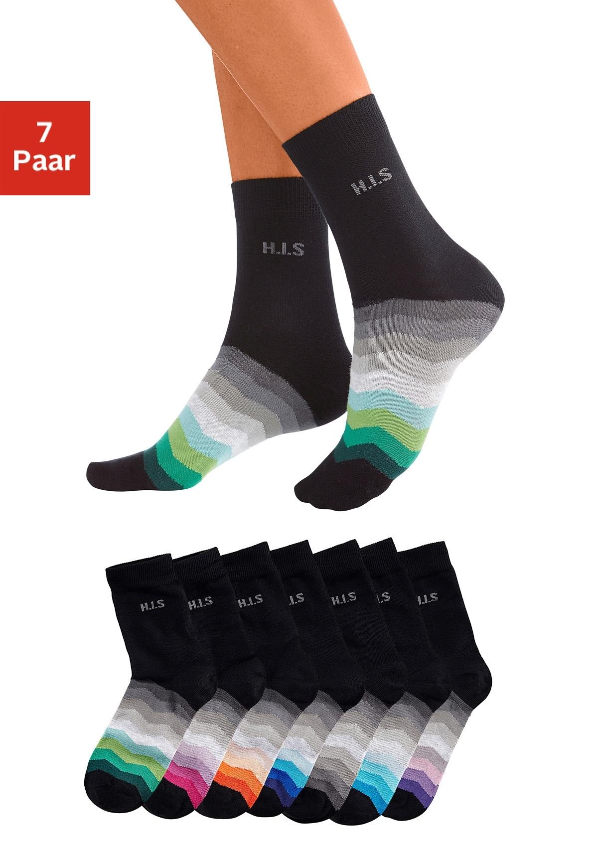 Op zoek naar een H.I.S basic sokken met zwarte schacht (7 paar)? Koop online bij Lascana