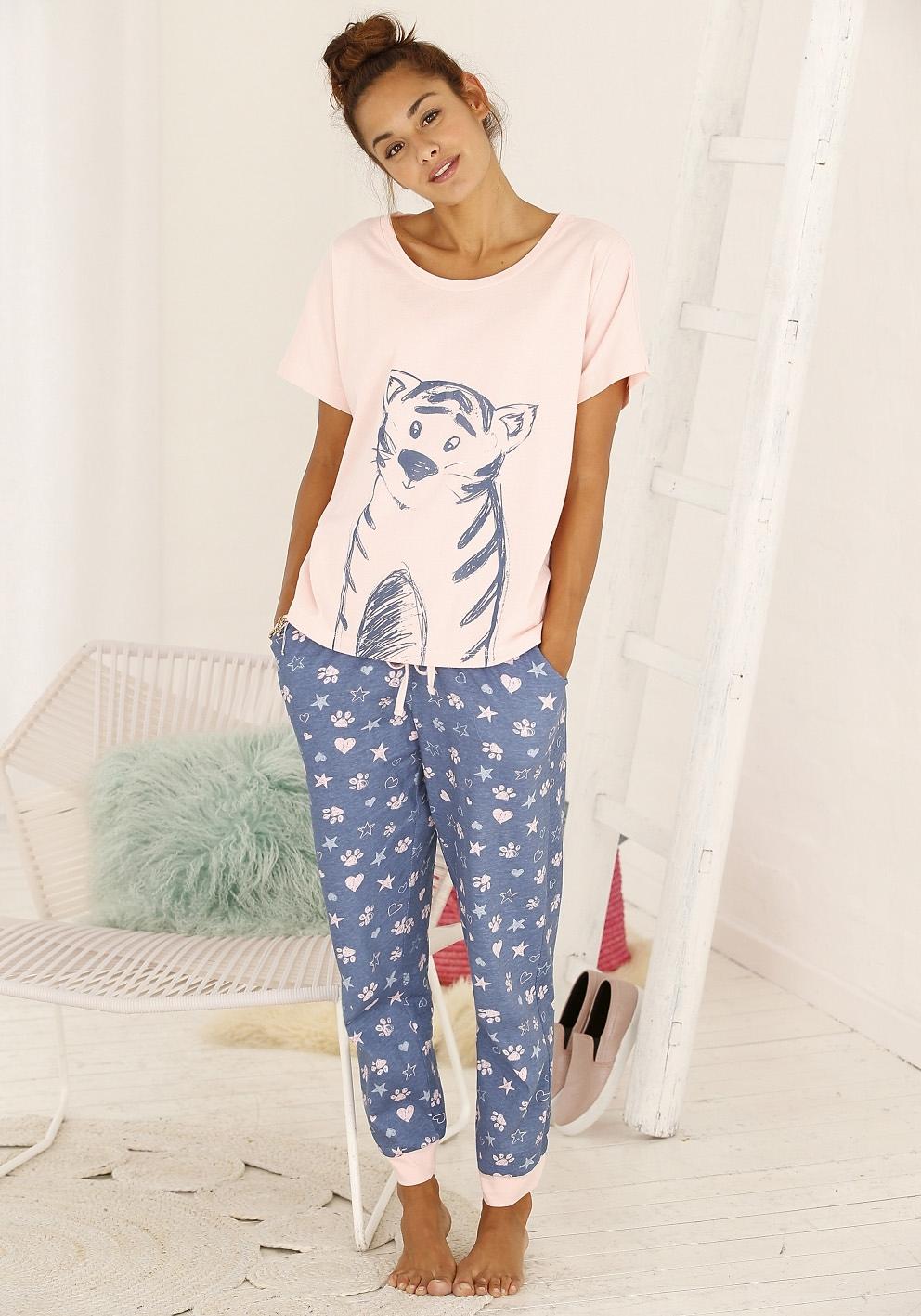 vivance collection Pyjama met tijgerprint in de webshop van Lascana kopen