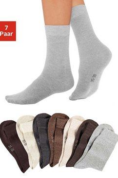 lavana basic sokken met knelvrije boord (7 paar) bruin