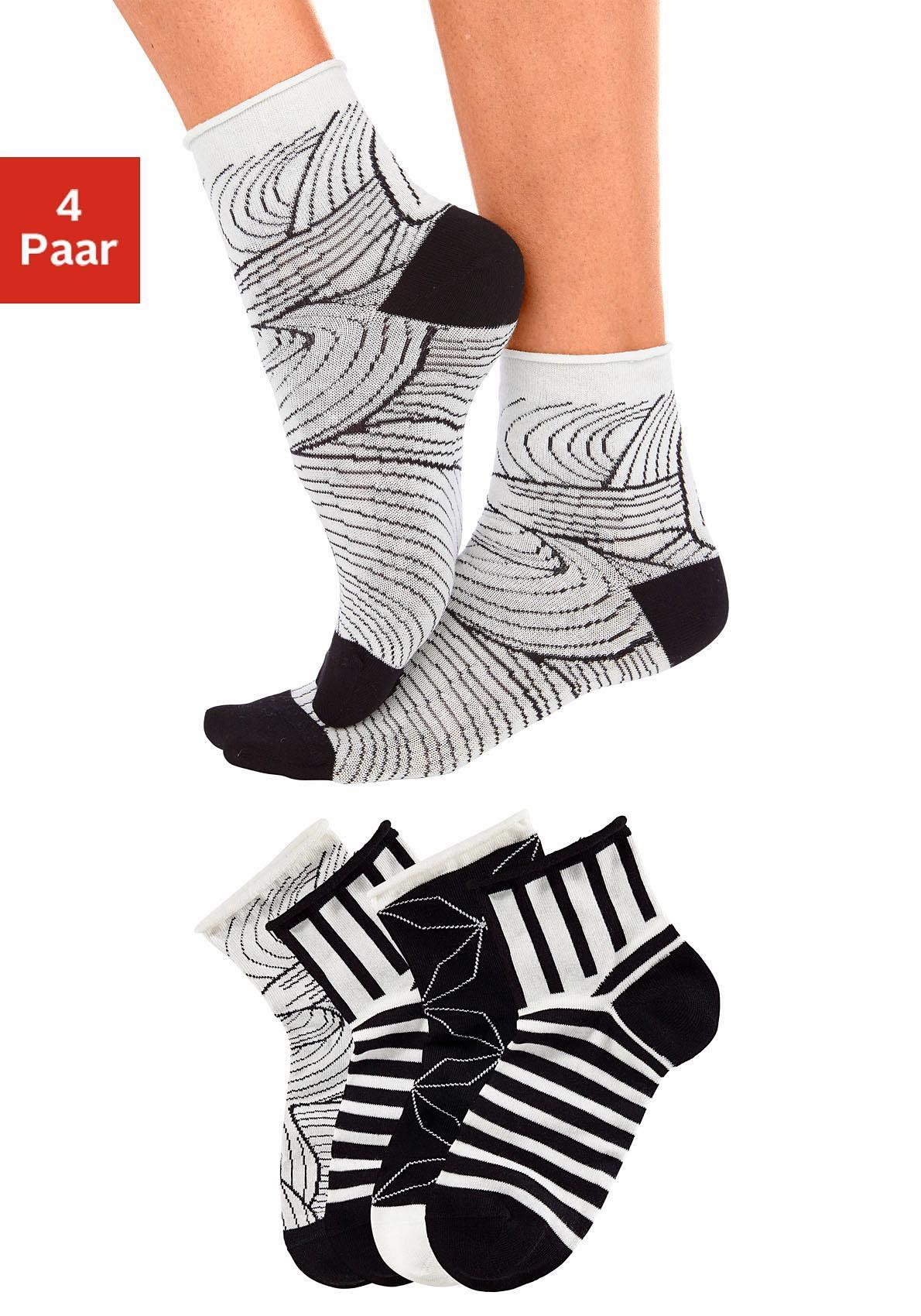 Tom Tailor Korte sokken met knelvrije boord (4 paar) bij Lascana online kopen