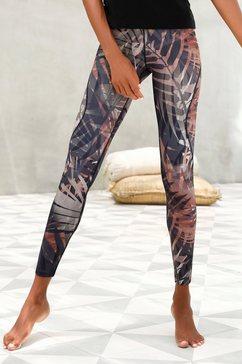 active by lascana legging tropical met abstracte palmenprint bruin
