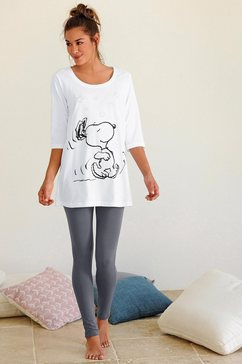peanuts pyjama met legging en casual shirt met snoopy-print beige