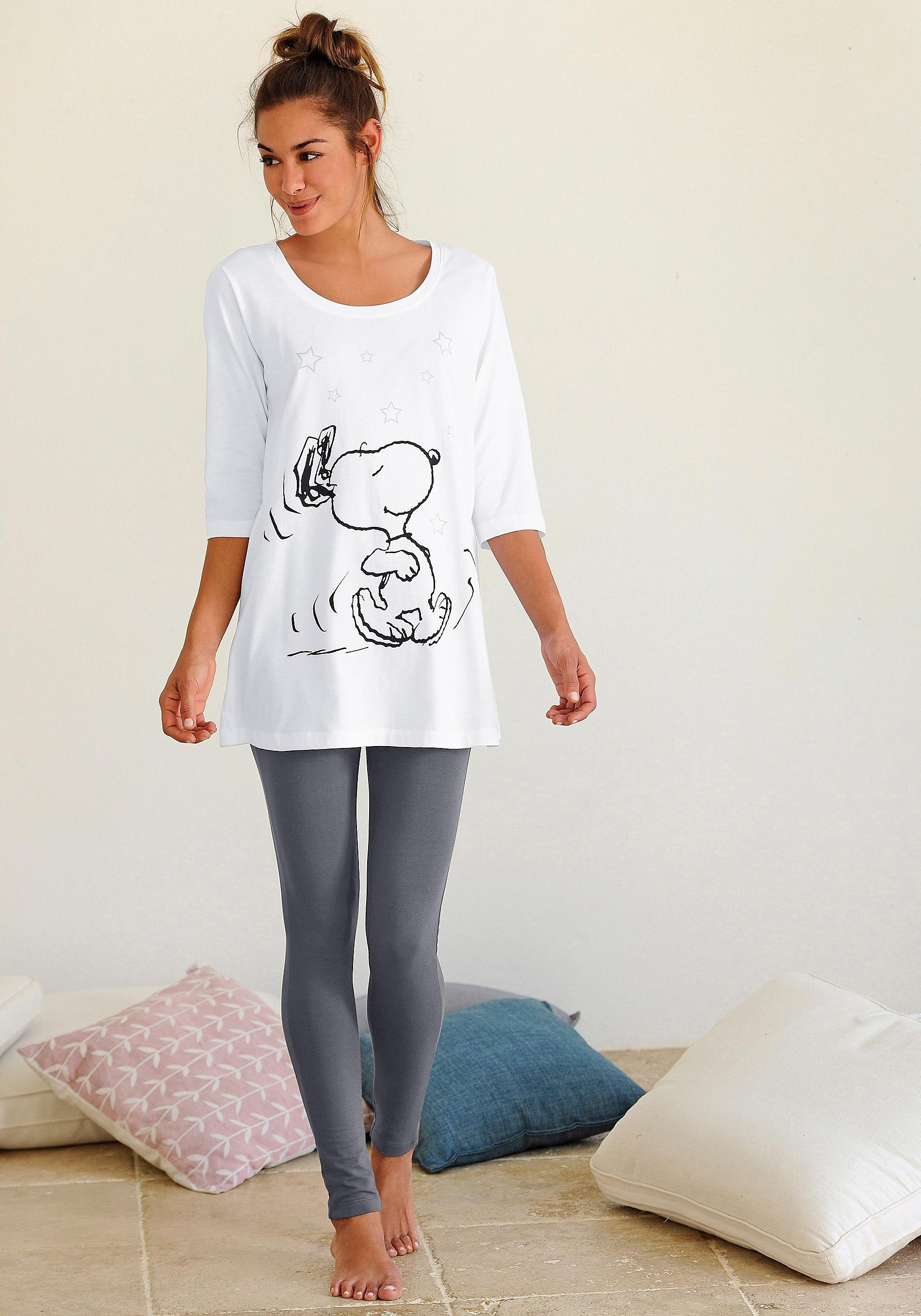 Peanuts pyjama met legging en casual shirt met Snoopyprint nu online bestellen
