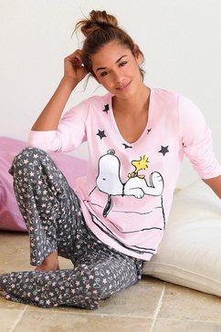 peanuts lange pyjama met schattig snoopy-dessin roze