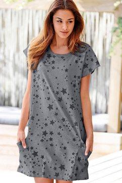 homewear-jurk met sterrendessin en zakken opzij