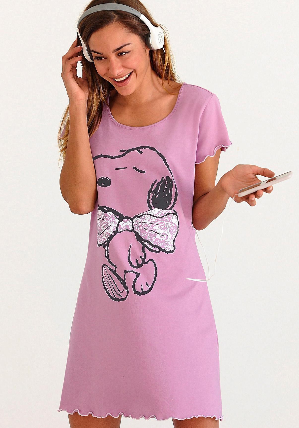 Peanuts nachthemd met Snoopyprint en rimpelrandjes - verschillende betaalmethodes