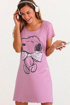 nachthemd met Snoopyprint en rimpelrandjes